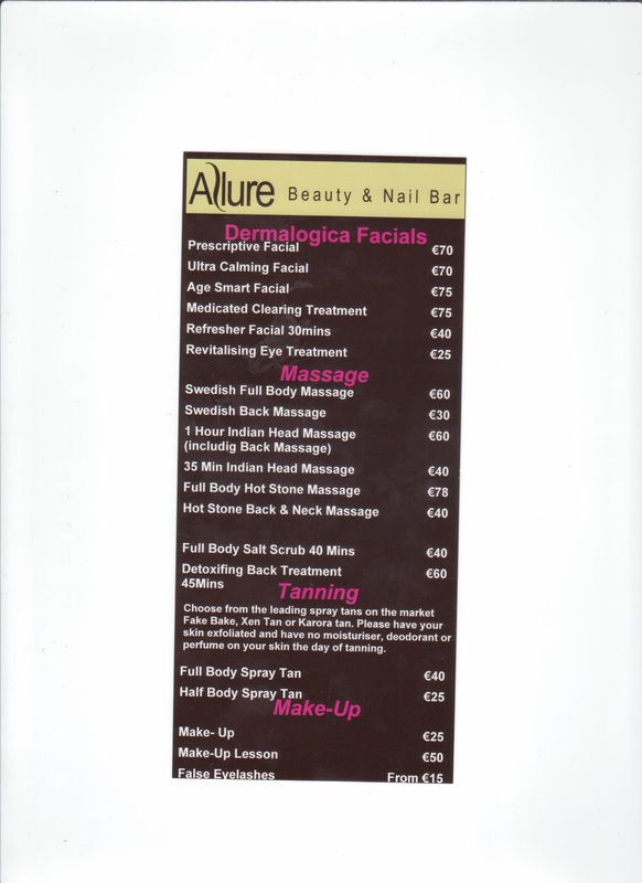 Price list 1 allure beauty and nail salon for A list nail salon